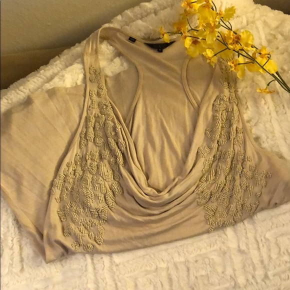Guess Tops - GUESS size M tan beaded cowl neck tank top🌼